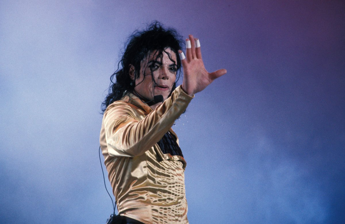 Michael Jackson performing on stage.
