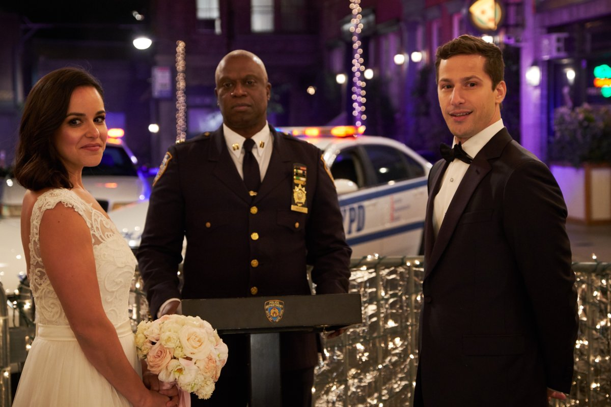 L-R: Melissa Fumero, Andre Braugher and Andy Samberg in the Jake & Amy season finale episode of 'Brooklyn Nine-Nine' which aired Sunday, May 20 on FOX..