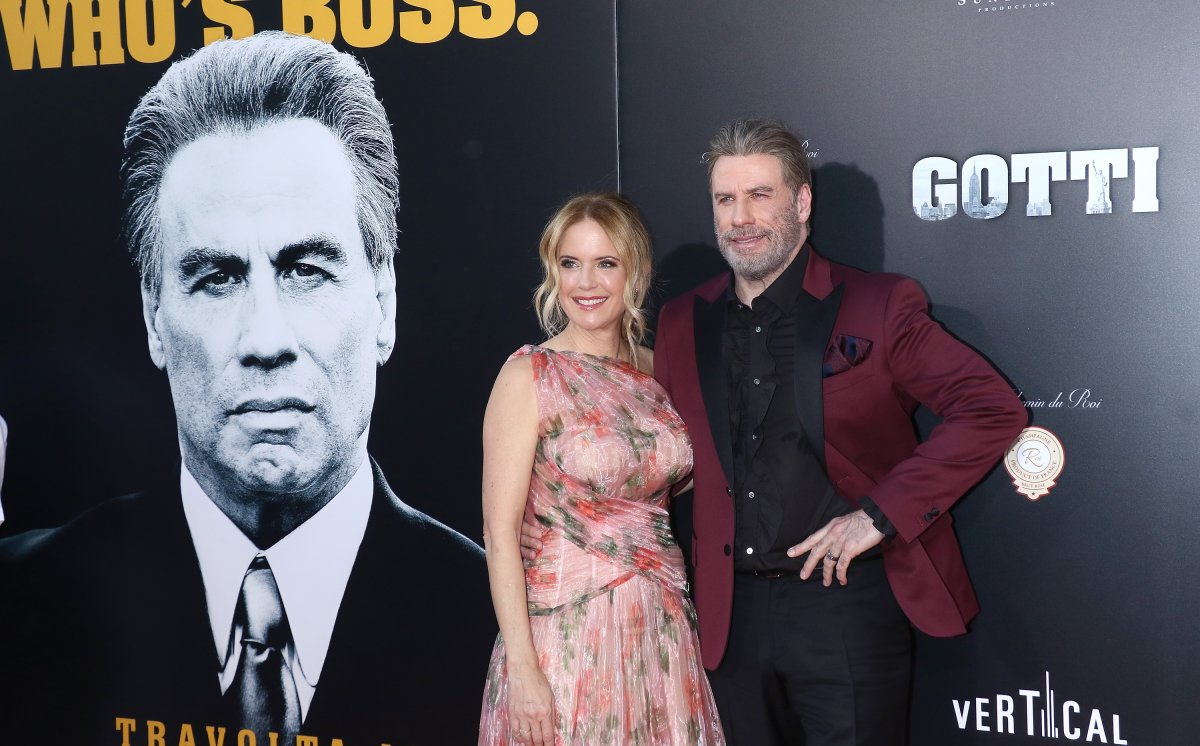 Actors Kelly Preston and John Travolta attend the 'Gotti' New York premiere at SVA Theater on June 14, 2018, in New York City.