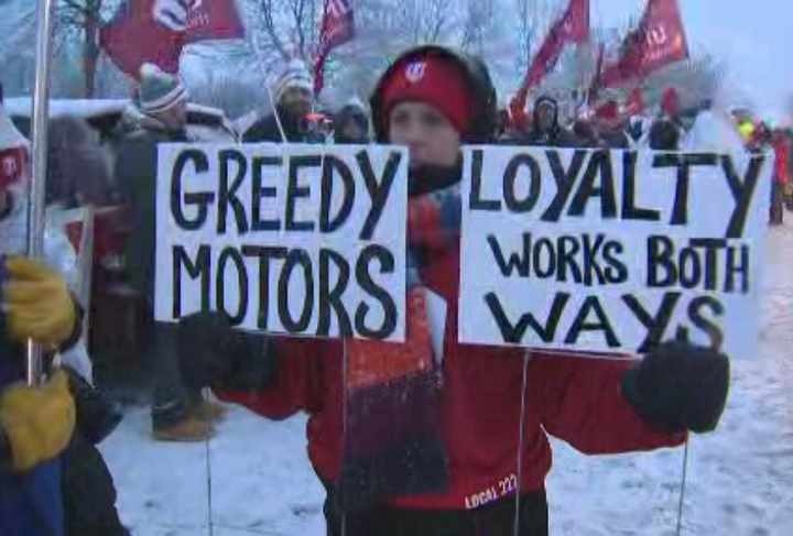 GM workers in Oshawa stage a protest at headquarters on Jan. 23, 2019.