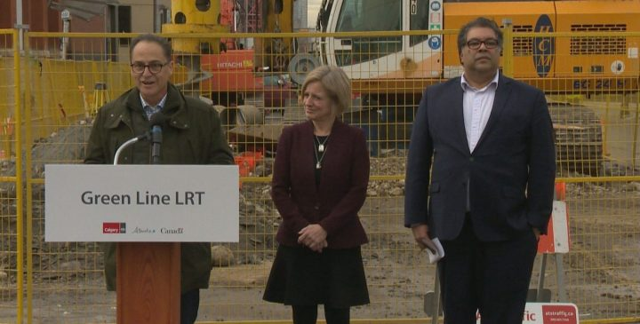 Minister Joe Ceci, Premier Rachel Notley and Mayor Naheed Nenshi green lit the Green Line LRT project in Calgary on Wednesday.