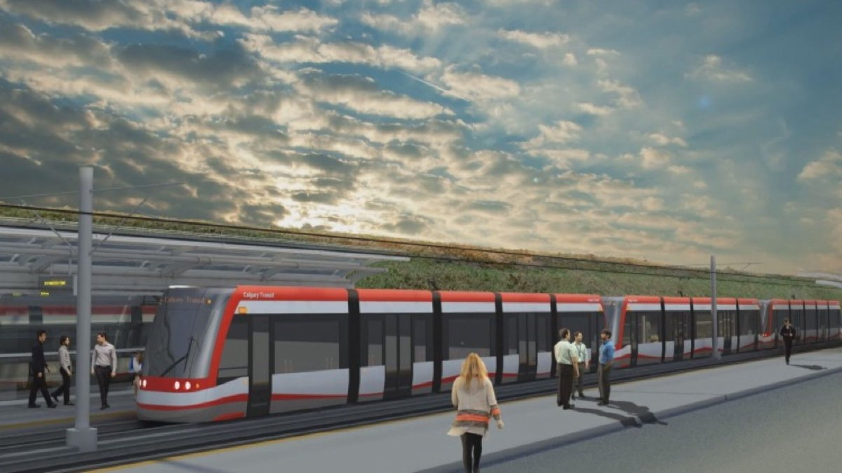 An artist's rendering shows the proposed Green Line LRT in Calgary.