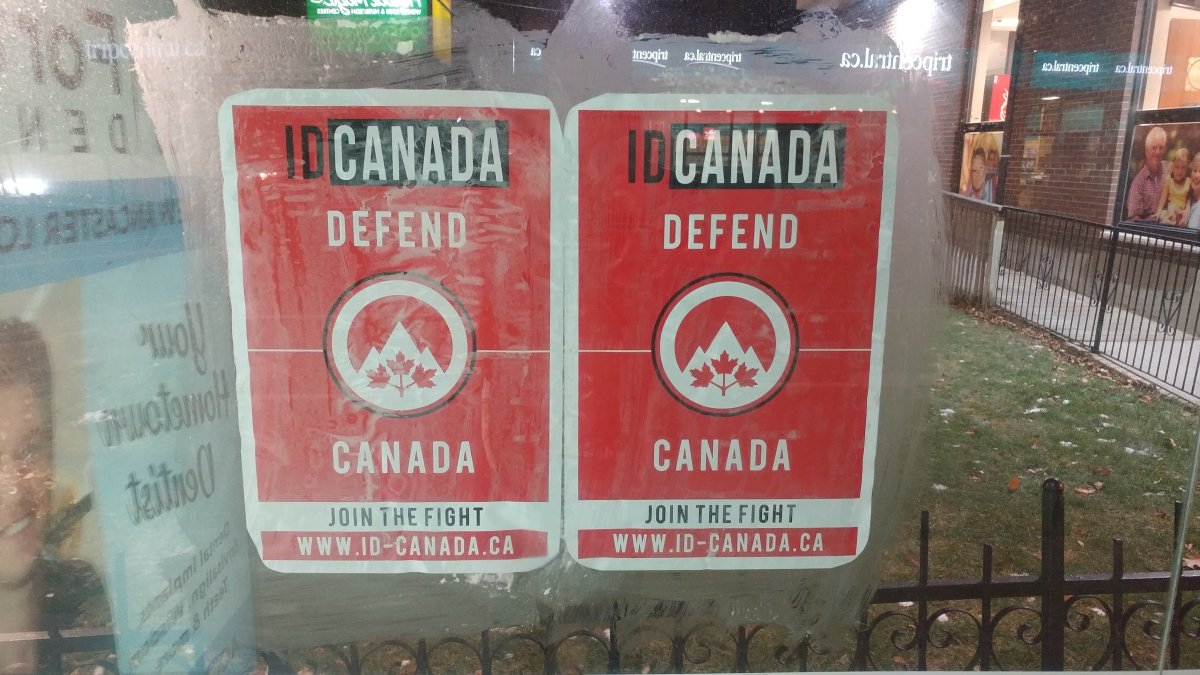 ID Canada signs have popped up on transit shelters in Hamilton.