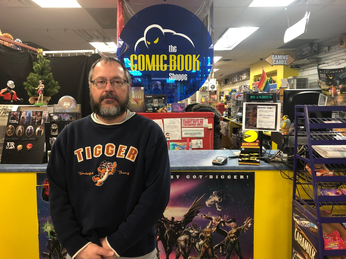 Comic Book Shoppe and Anime Stop owner Stevens Ethier is pictured here at his Bank Street location on Thursday, Jan. 17. Ethier says he's in danger of having to shutter his three stores because of personal financial troubles that snowballed over the past three years.