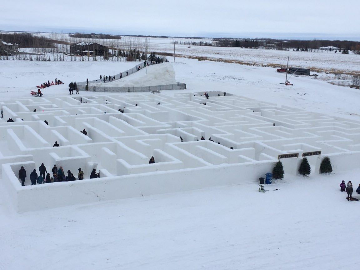 """A Maze In Corn"" winter themed maze south of Winnipeg confirmed to be the world's largest snow maze."