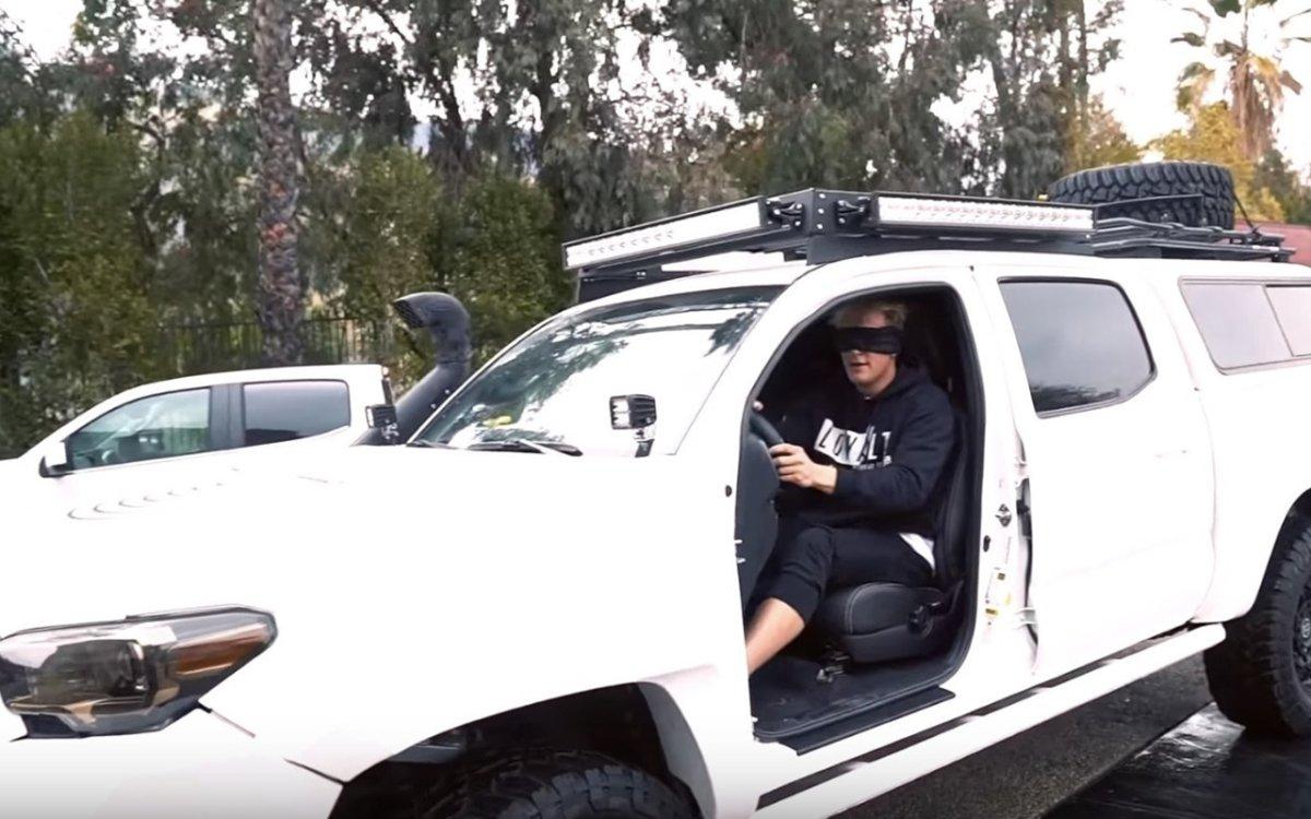 YouTuber Jake Paul records dangerous stunts for his 'Bird Box' challenge.