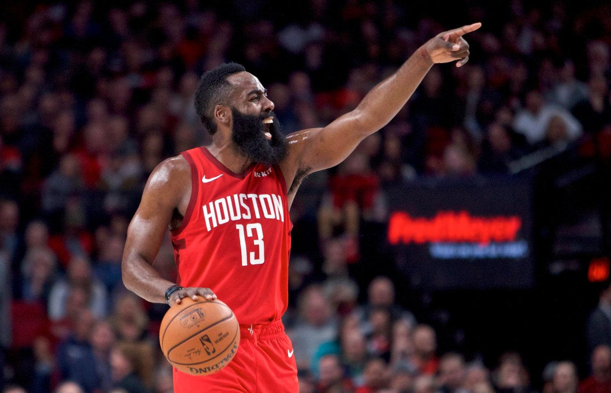 Houston Rockets guard James Harden gestures during the first half of an NBA basketball game against the Portland Trail Blazers in Portland, Ore., Saturday, Jan. 5, 2019.