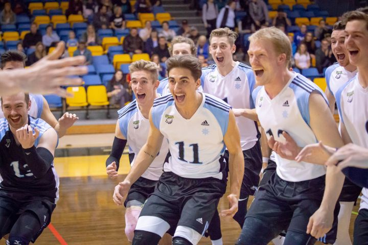 The Lethbridge College Kodiaks celebrate a win over Olds College on November 23, 2018.