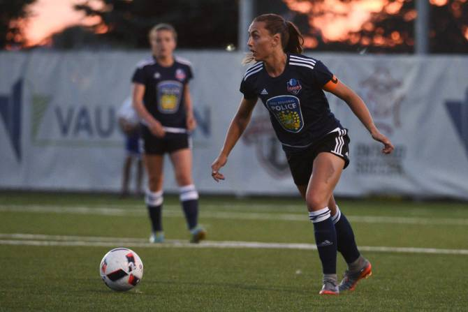 London, Ont. - FC London strikder Jade Kovacevic lines up a kick during a League 1 Ontario match.