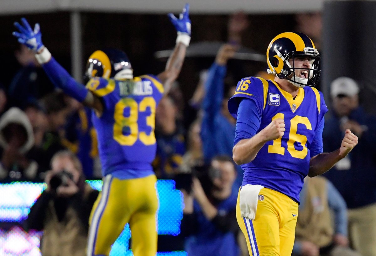 Los Angeles Rams quarterback Jared Goff (16) will try to lead his team past Tom Brady and the New England Patriots, who are trying to win their sixth Super Bowl.