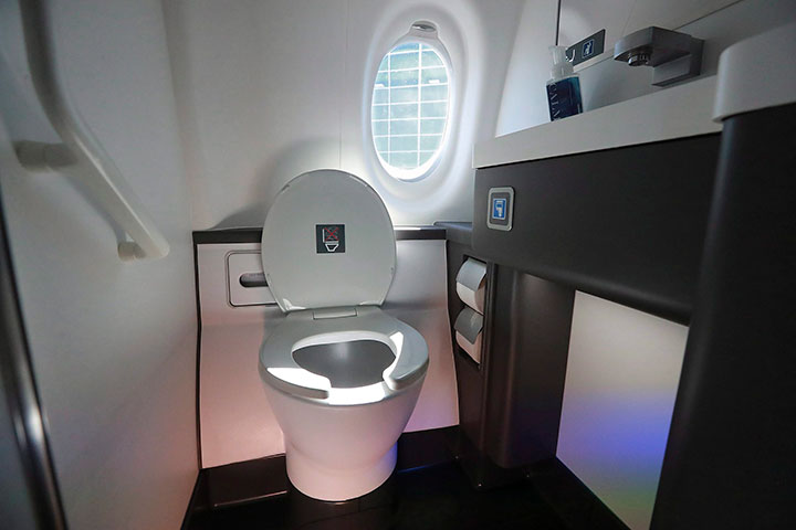 A lavatory pictured on an aircraft in this Monday, Oct. 29, 2018 file photo.