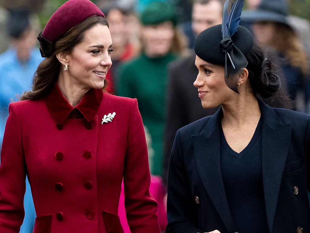 Kate Middleton, Duchess of Cambridge and Meghan Markle, Duchess of Sussex attend Christmas Day Church service at Church of St Mary Magdalene on the Sandringham estate on December 25, 2018 in King's Lynn, England.