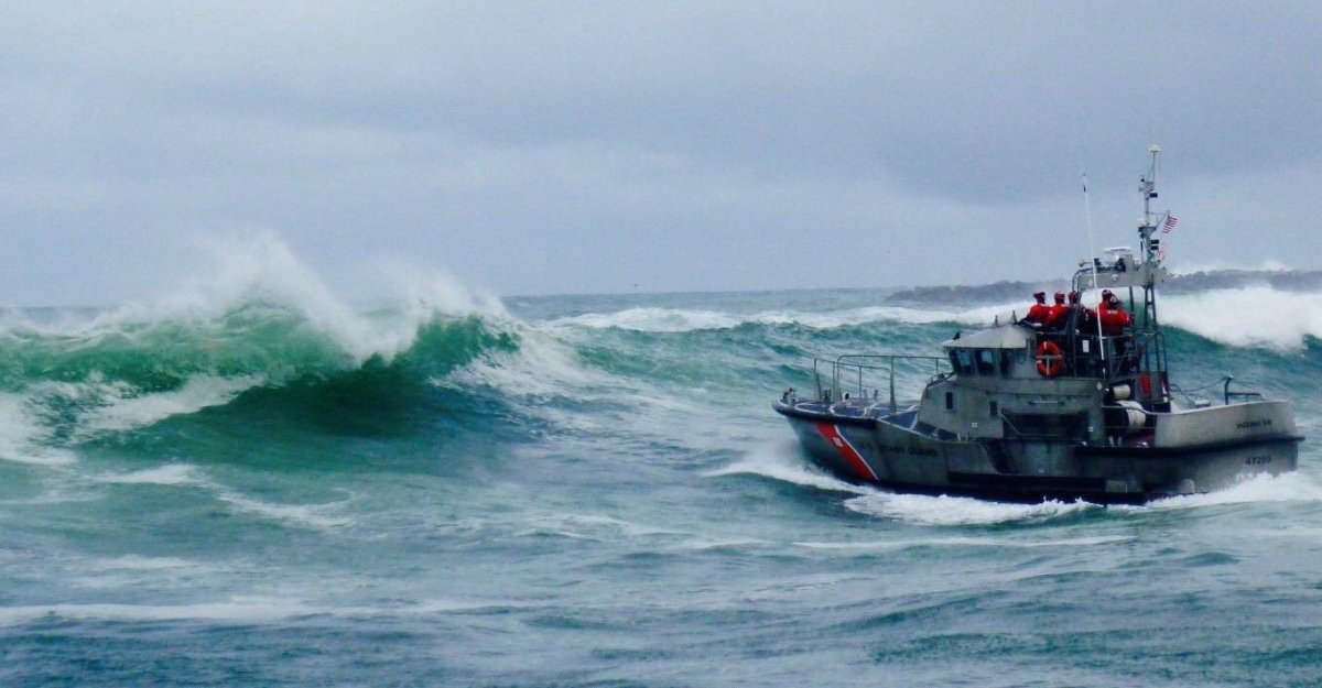 U.S. Coast Guard picture of a boat coming up against high waves.