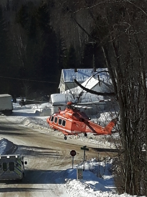 An Ornge air ambulance transports the victim of a snowmobile crash on William Lake on Saturday.