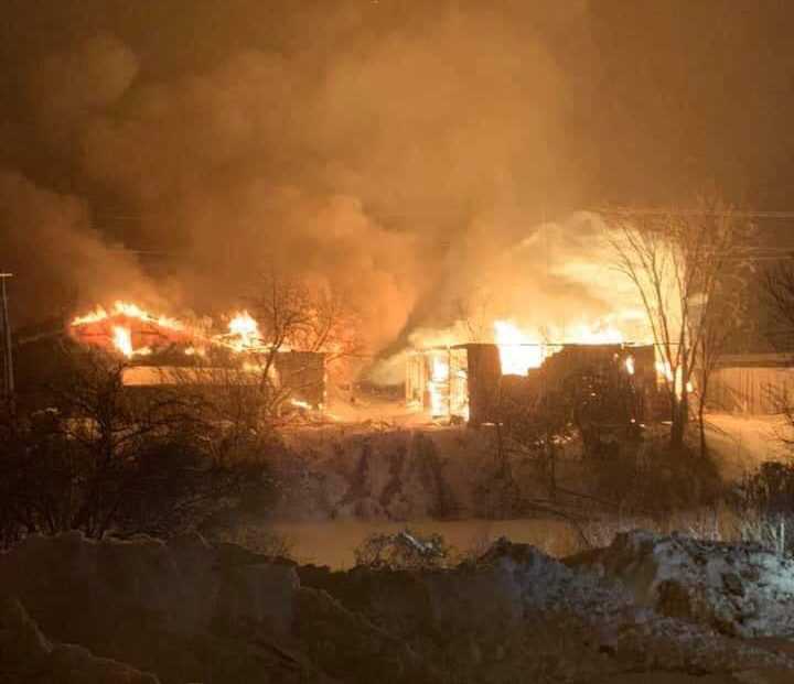 First responders were called to the blaze at the Lavern Heideman and Sons lumber yard on Boundary Road in Pembroke at around 8 p.m. on Wednesday night, OPP say.