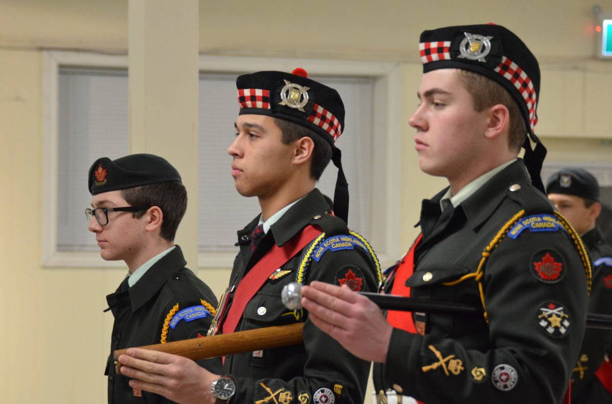 Army Cadets Jonathan Pyrovolos, 14, Aaron Day, 18, and Caleb Wilson, 17, received the Certificate of Commendation on Jan. 23, 2019 at the New Glasgow Legion for outstanding deeds in saving a dog that had fallen through the ice in March 2018.