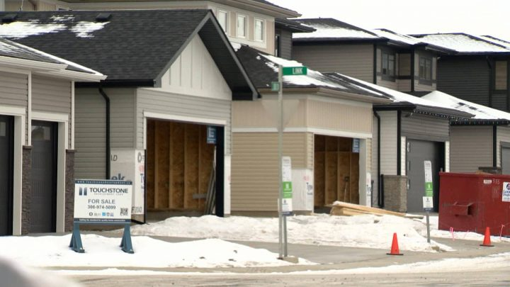 Home prices continue to fall in Saskatoon due to increased financing costs and uncertainty in the resource sector.