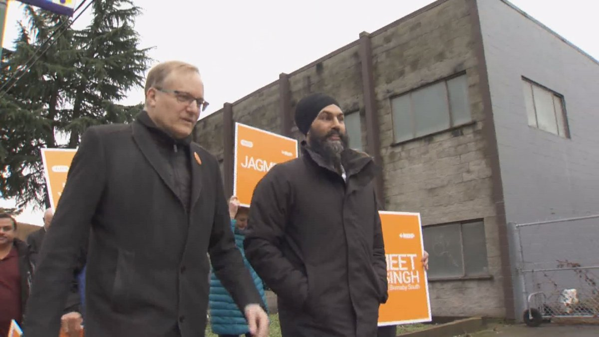 Jagmeet Singh and supporters campaign in Burnaby on Sunday, Jan. 06.