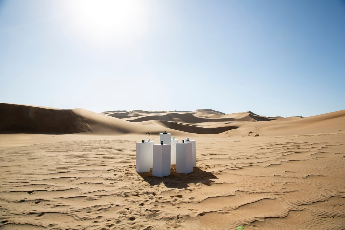 """Max Siedentopf's """"Toto Forever"""" sound installation pictured somewhere in the Namib Desert."""
