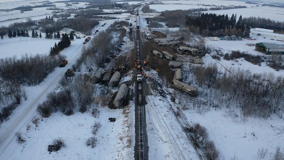 A CN train derailed in Camrose County, Sunday, Jan. 13, 2019.