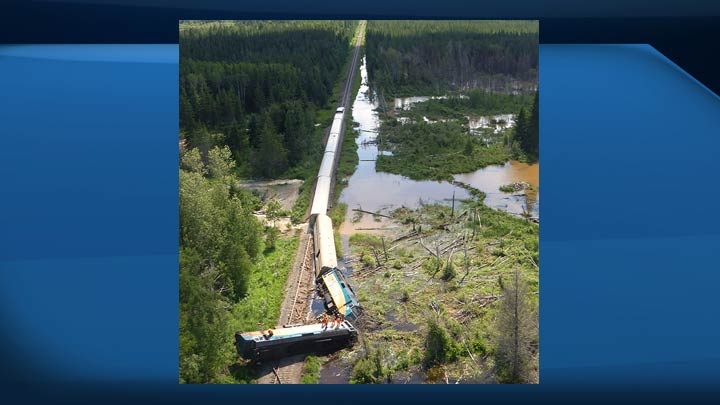 The TSB says in a report that more than 100 millimetres of rain fell over the four days leading up to a train derailment near Hudson Bay on July 5, 2018.