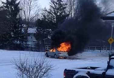 Photo shows a vehicle on fire Friday morning on Culver Drive in London.