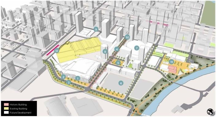 An up-close look at what Victoria Park would look like under the Rivers District Master Plan.
