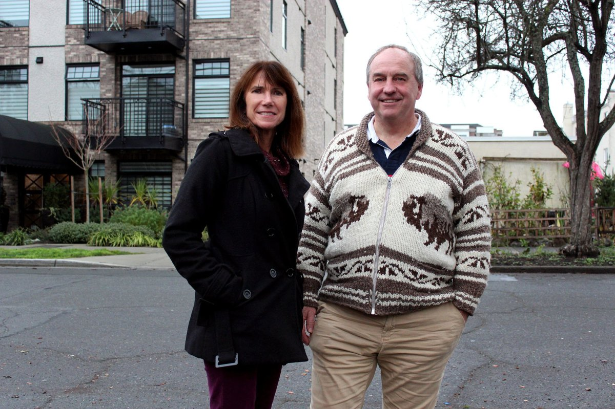 Green Party candidate Michele Ney and Green Party leader Andrew Weaver campaign in Nanaimo.