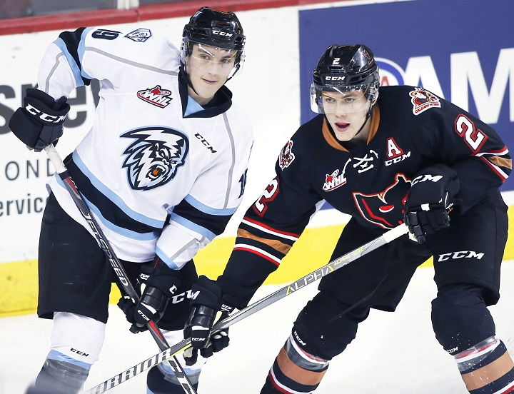 The WHL announced on Tuesday that the Kootenay Ice will be relocating to Winnipeg after this season. Here, Petyon Krebs of the Kootenay Ice and Dakota Krebs of the Calgary Hitmen jockey for position during WHL action in Calgary on Sunday, Nov. 11, 2018.
