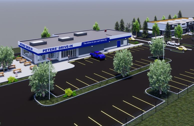 A photo of the Edmonton development plans for Peters' Drive-In.