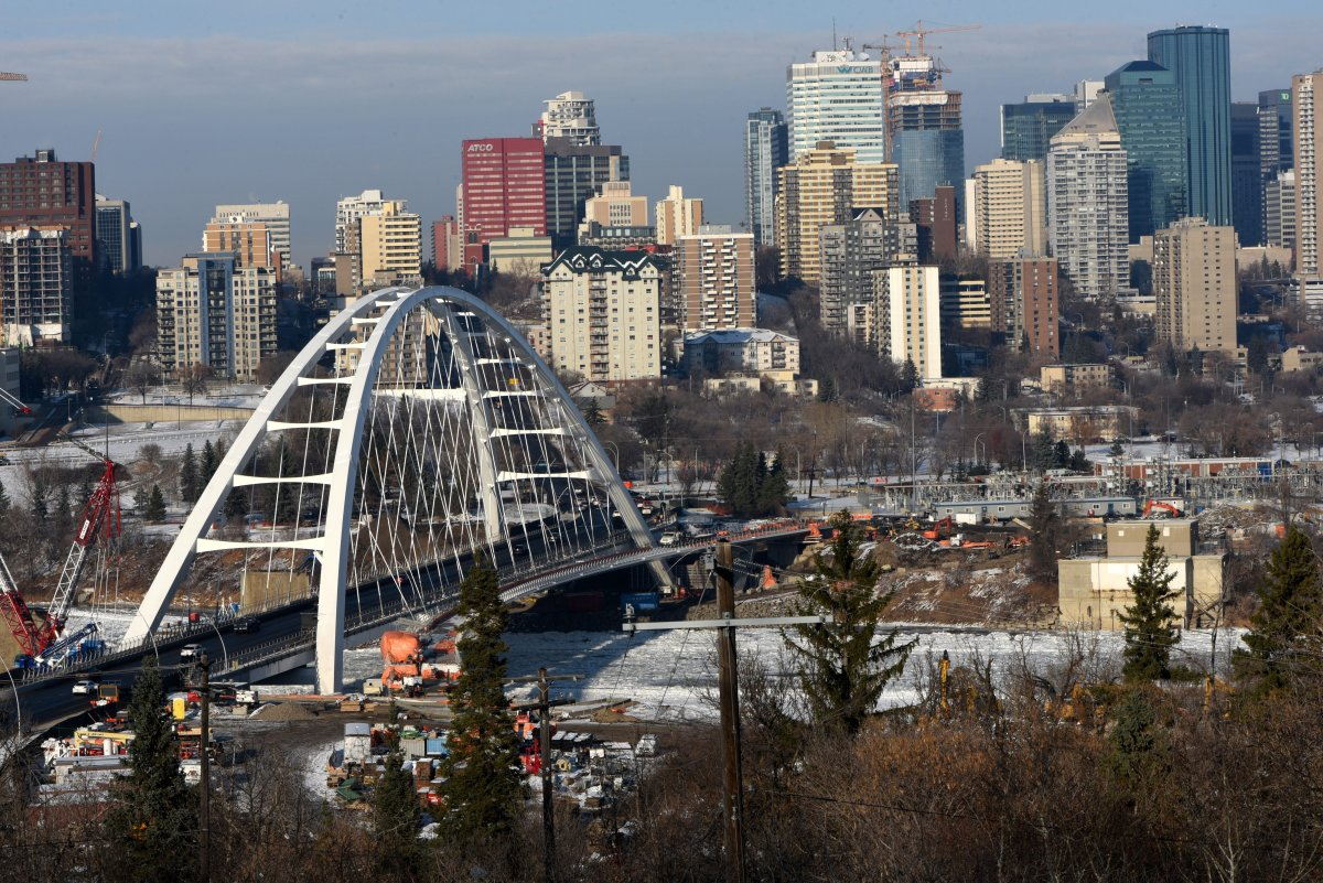 A view over the North Saskatchewan River valley to the skyline of downtown Edmonton, Alberta, Canada.