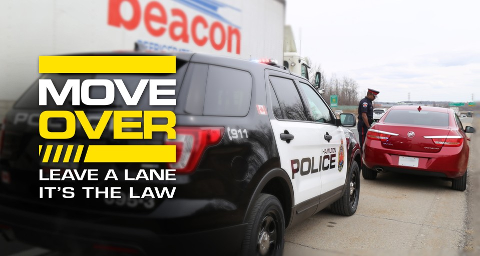 "Hamilton police would like to reiterate the ""Move Over"" legislation requires drivers to slow down and if possible, leave one lane between their vehicle and the parked emergency vehicle."