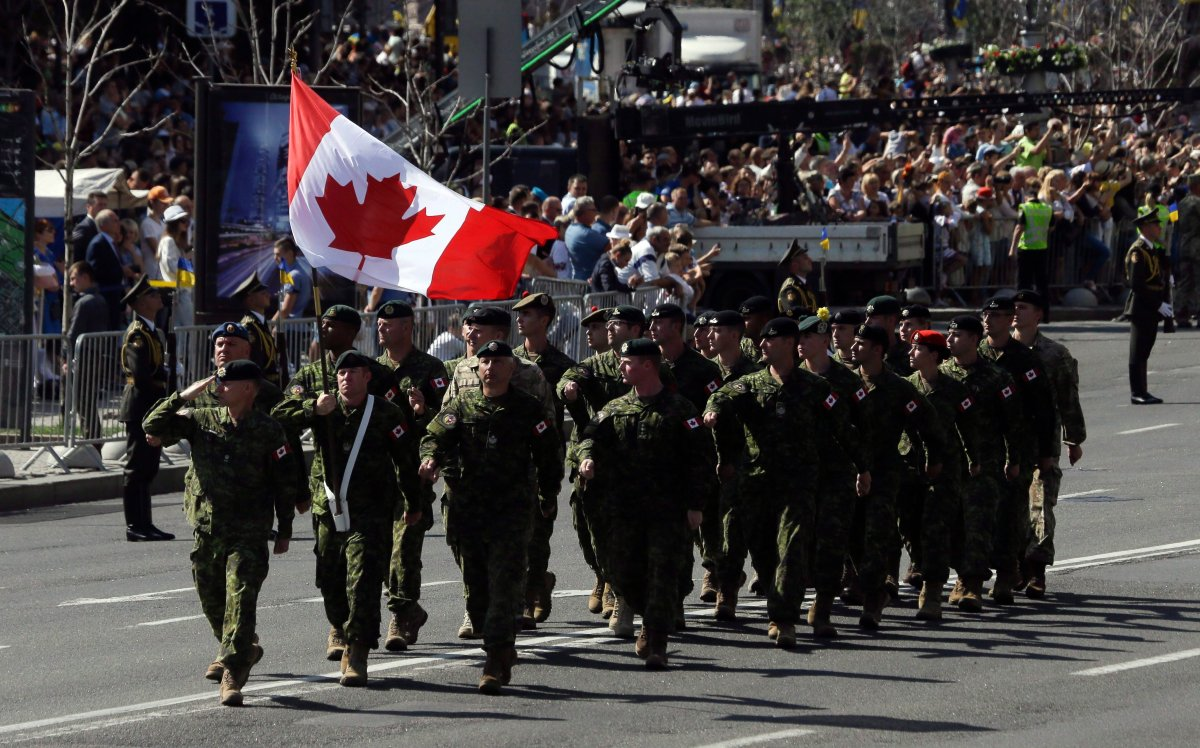 Canada's soldiers march along main Khreshchatyk Street during a military parade to celebrate Independence Day in Kiev, Ukraine, Aug. 24, 2018.