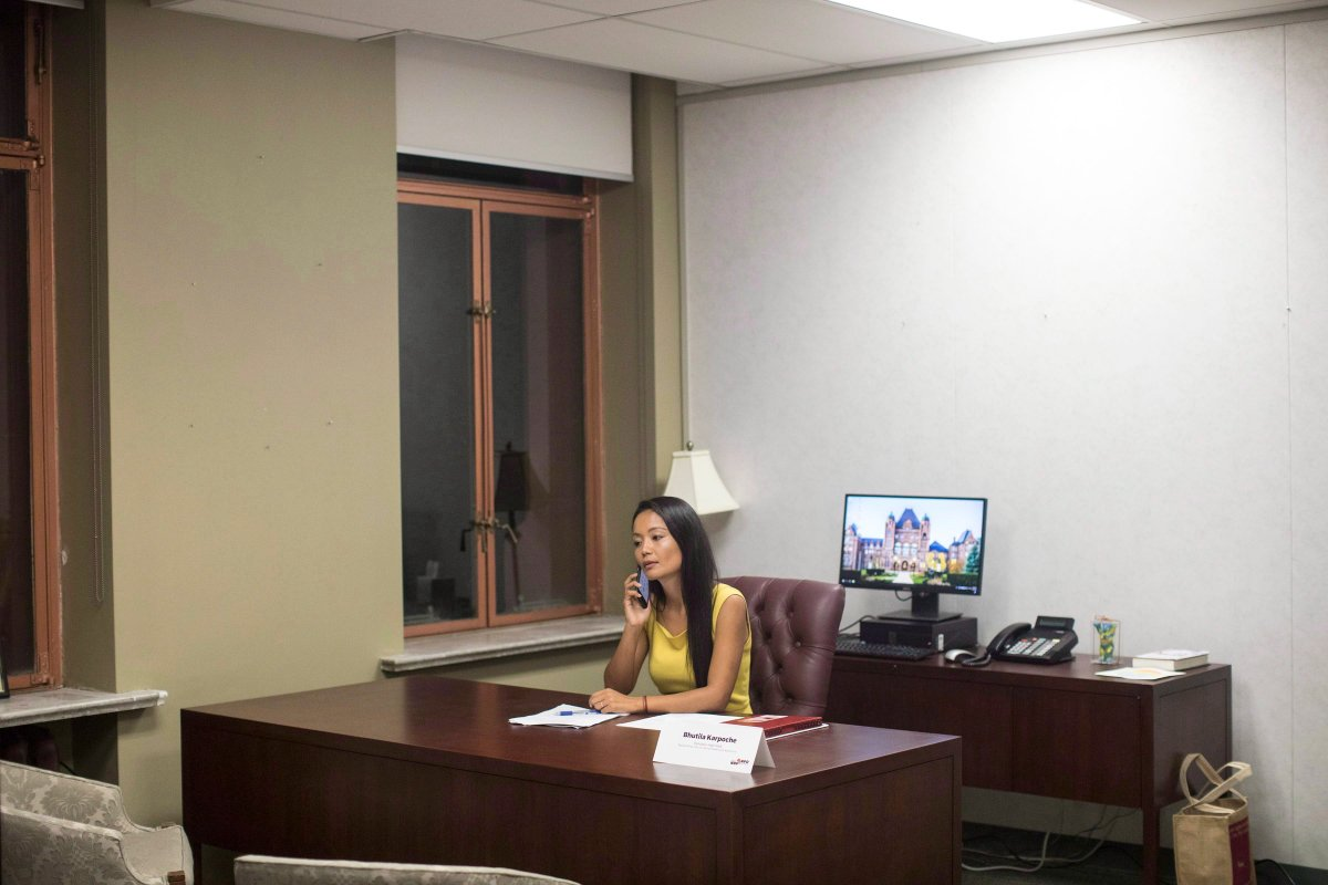 Ontario NDP MPP Bhutila Karpoche takes a call in her office in Toronto on September 16, 2018.