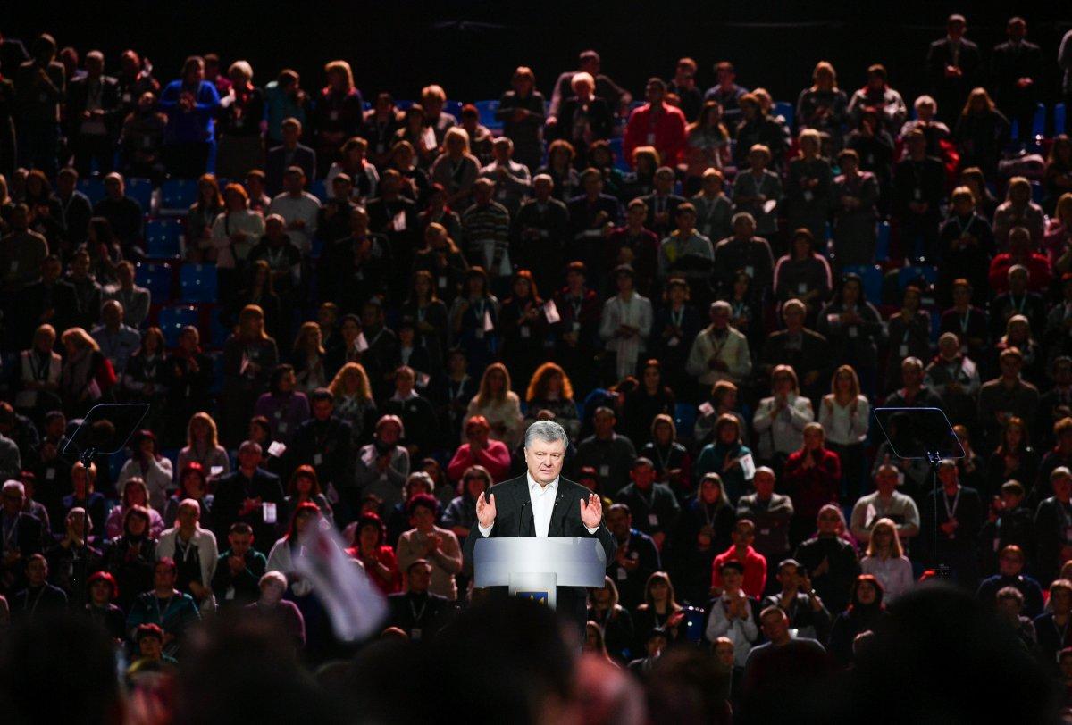 Ukrainian President and Presidential candidate Petro Poroshenko attends an election rally in Kiev, Ukraine February 9, 2019.