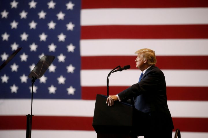 U.S. President Donald Trump speaks during campaign rally at Mohegan Sun Arena in Wilkes-Barre, Pennsylvania, U.S.