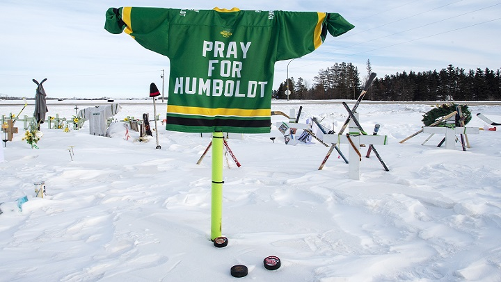 A memorial for the 2018 crash where 16 people died and 13 injured when a truck collided with the Humboldt Broncos hockey team bus, is shown at the crash site Jan. 30, 2019 in Tisdale, Sask.