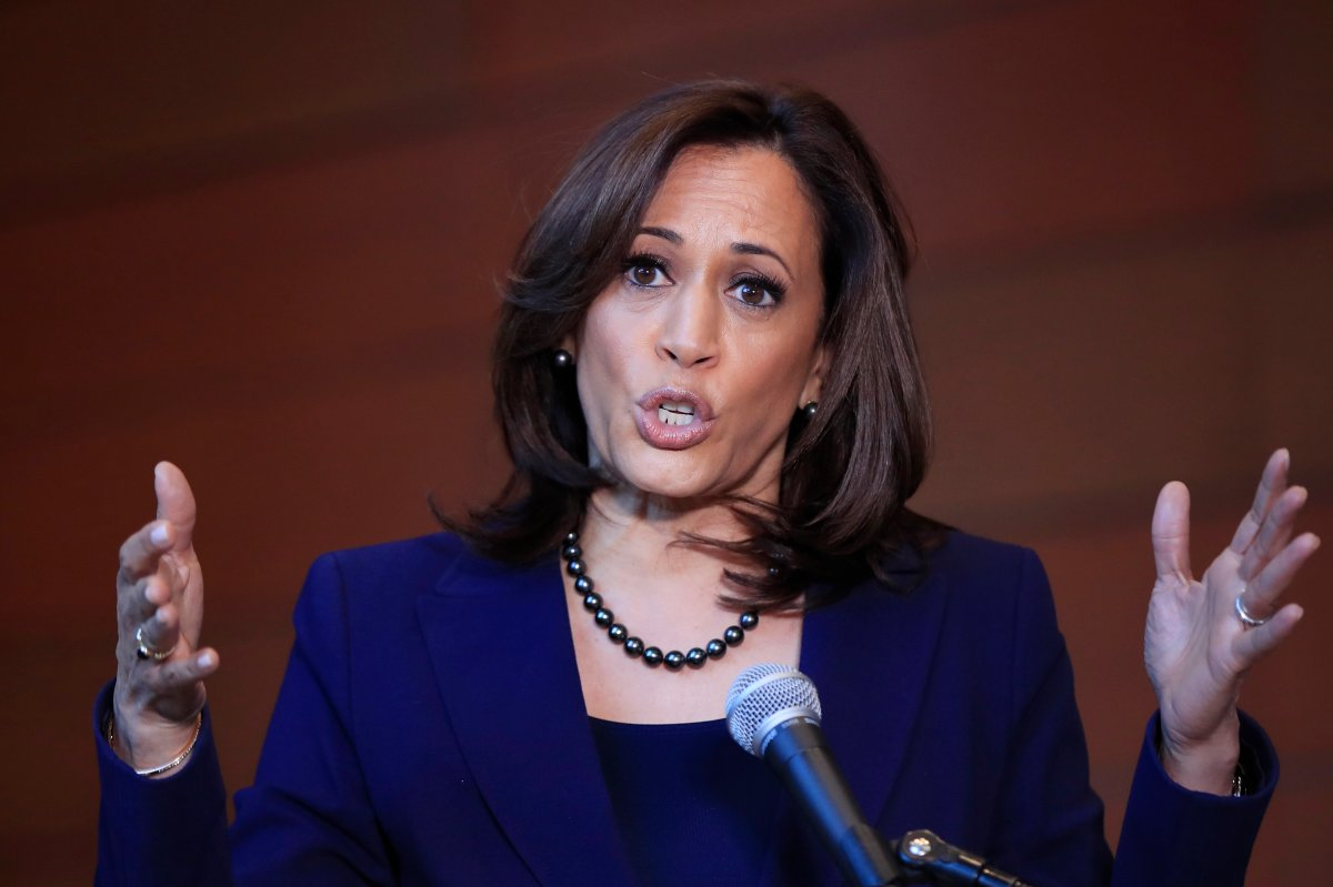 FILE - In this Monday, Jan. 21, 2019, file photo, Sen. Kamala Harris, D-Calif., speaks to members of the media at her alma mater, Howard University, in Washington, following her announcement earlier in the morning that she will run for president.