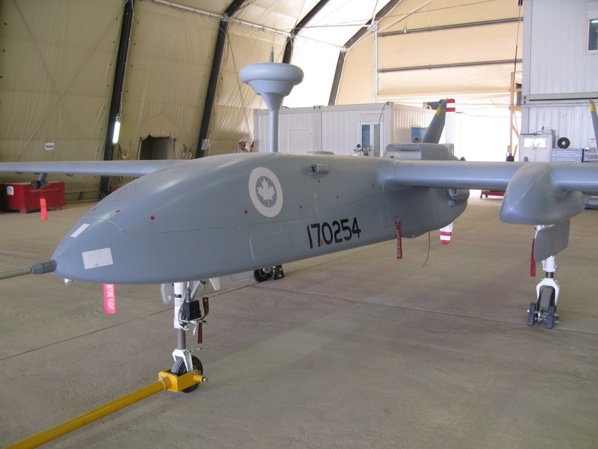 A Heron pilotless spy drone, operated by the Canadian military, sits in a hangar at Kandahar Airfield on July 5, 2010.