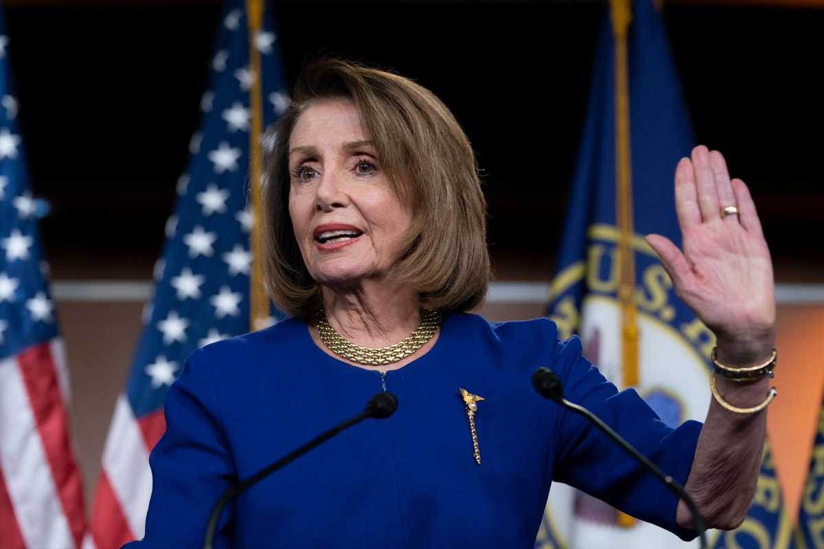 In this Feb. 7, 2019 photo, Speaker of the House Nancy Pelosi, D-Calif., talks with reporters during her weekly news conference, on Capitol Hill in Washington.