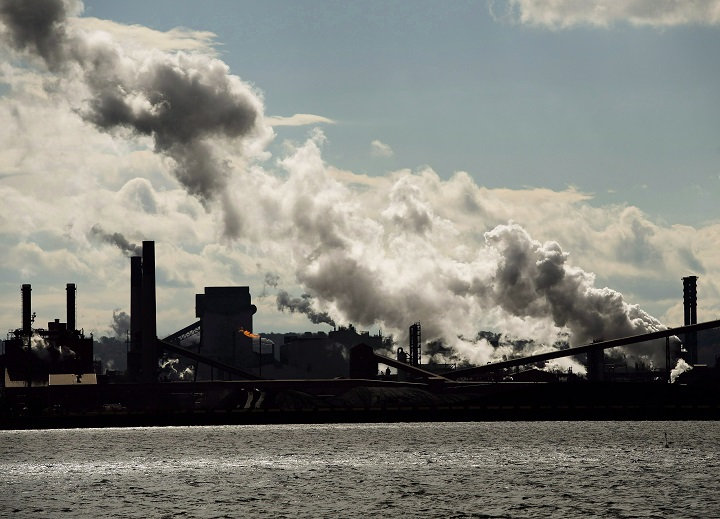 The steel mills in the Hamilton waterfront harbour are shown in Hamilton, Ont., on Tuesday, October 23, 2018.