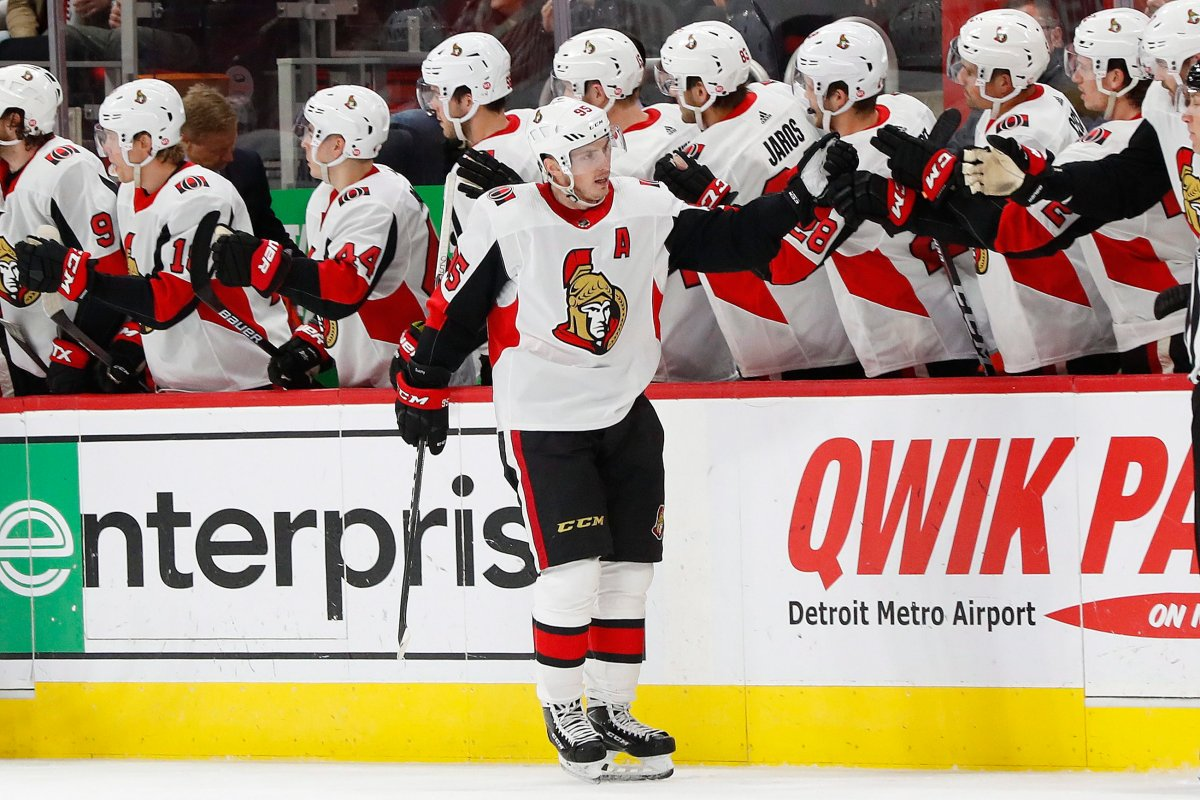 Ottawa Senators center Matt Duchene (95) celebrates his goal against the Detroit Red Wings in the second period of an NHL hockey game Thursday, Feb. 14, 2019, in Detroit. Duchene was traded to the Columbus Blue Jackets on Friday.