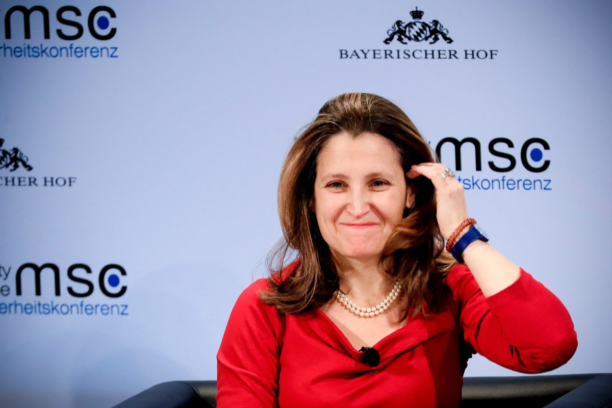 Canada's Foreign Minister Chrystia Freeland attends the 55th Munich Security Conference (MSC) in Munich, Germany, 15 February 2019.