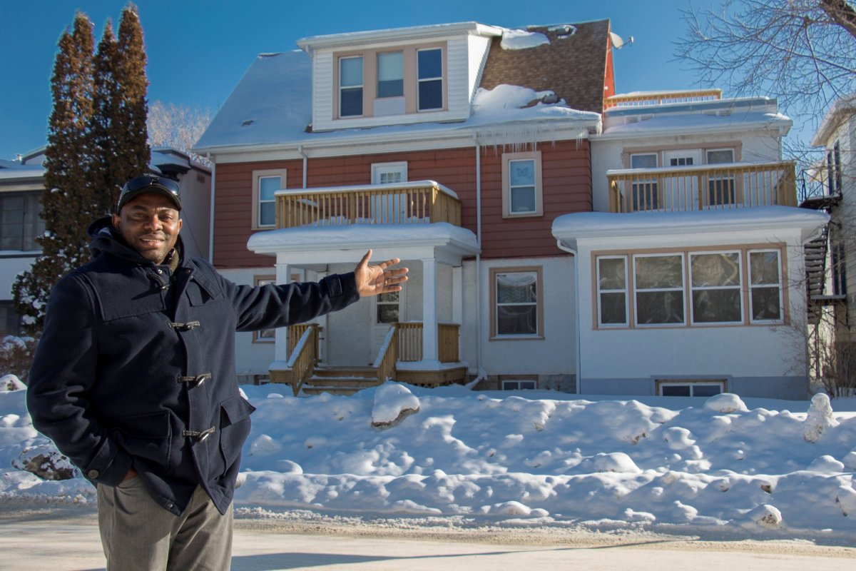 Property manager Boris Ntambwe enjoys welcoming immigrants to their new home in Winnipeg in a handout photo.
