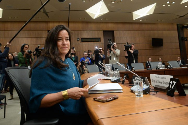 Former attorney general Jody Wilson-Raybould appears at the House of Commons Justice Committee on Parliament Hill, Feb. 27, 2019.