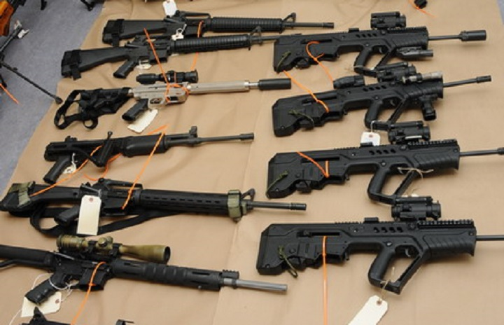 A selection of the estimated 100 guns seized on Vancouver Island last month.