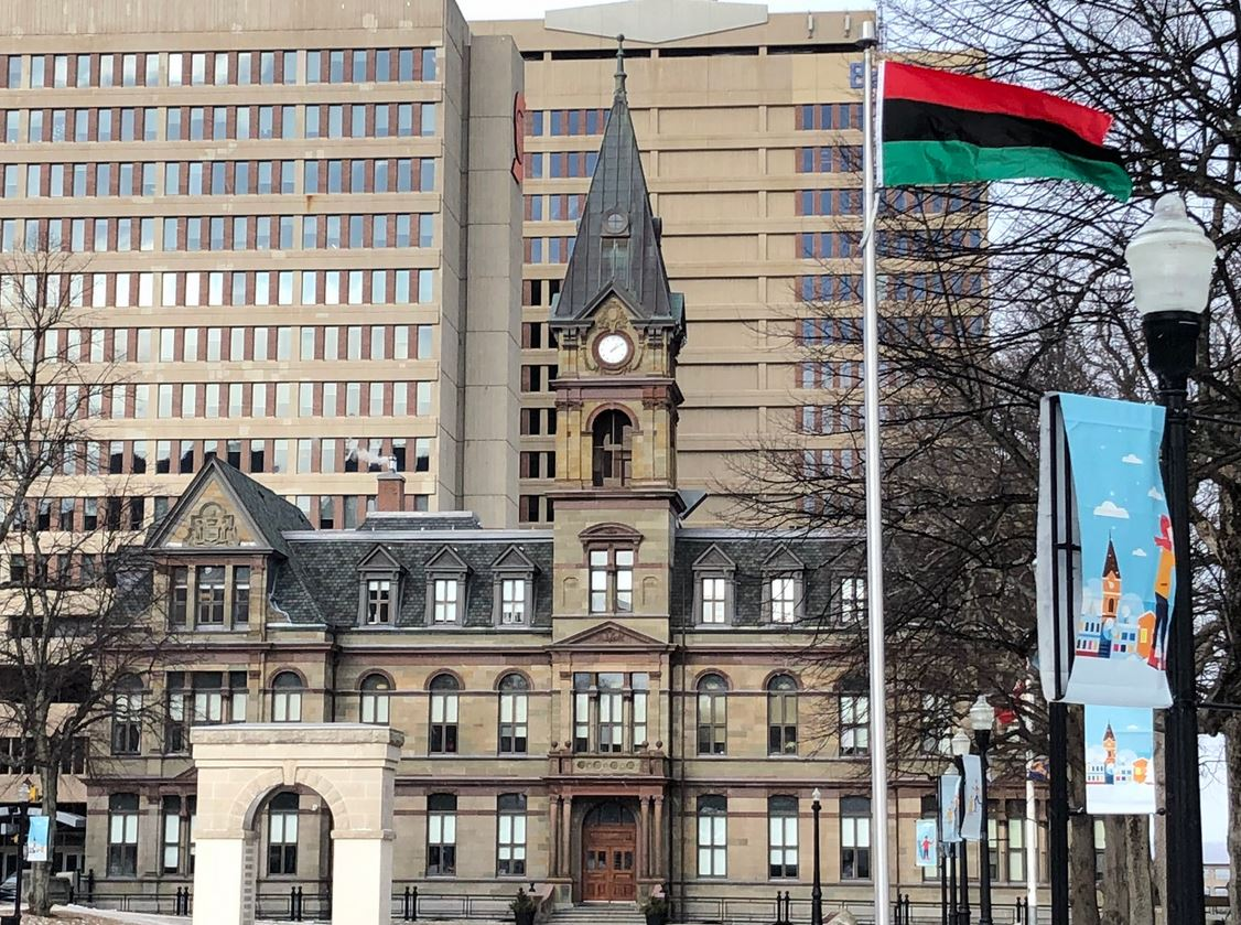 The African Nova Scotian flag is seen outside Halifax City Hall on Friday, Feb. 1, 2019.