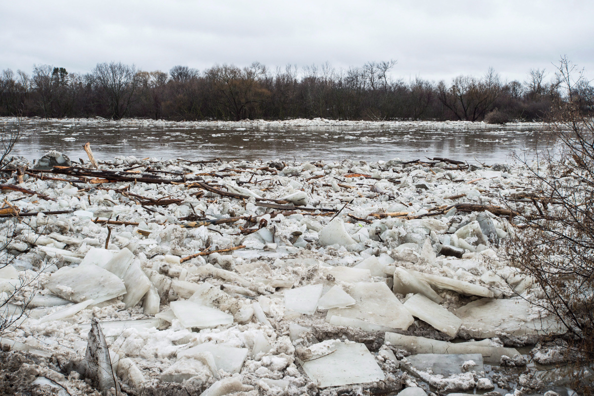 Ice is seen in the high waters of the Grand River in Brantford where residents were being evacuated due to flooding after an ice jam upstream of Parkhill Dam sent a surge of water downstream on Wednesday, Feb. 21, 2018.