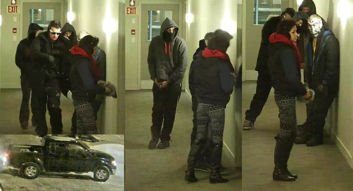 Saskatoon police are releasing surveillance images of suspects and a vehicle in the hopes that someone can identify them after a break-in and assault.