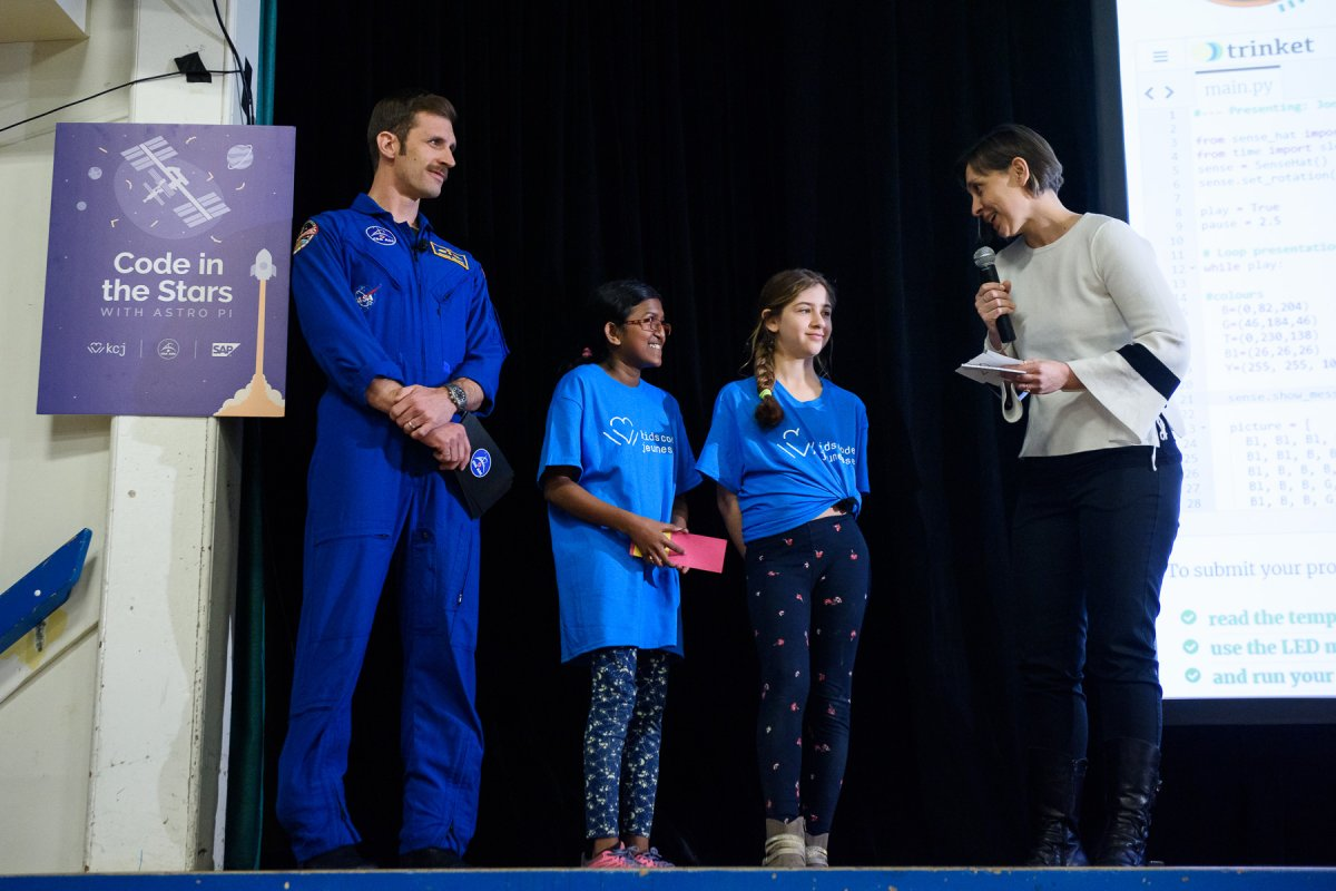Grade Six students Biduni Siriwardana and Jona Katro were the first to have the message they coded beamed to the International Space Station on Thursday.